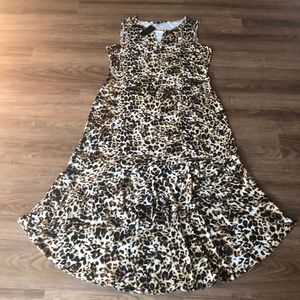 Thalia Sodi Animal Print Maxi Dress Large NWT